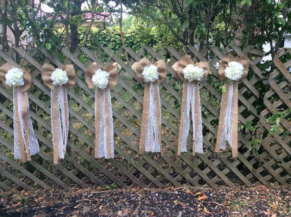 Hey, I found this really awesome Etsy listing at https://www.etsy.com/au/listing/236646470/set-of-6-burlap-vintage-lace-wedding-pew