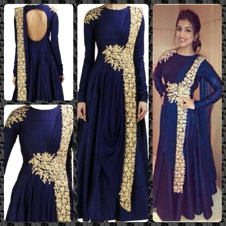 Pallavi Sharda in Navy Blue Anarkali. Fascinating Blue Raw Silk Based Anarkali Suit With Gold Embroidery Work. Navy blue raw silk anarkali with gold embroidery on draped dupatta, waist and shoulder. Navy blue raw silk anarkali with light gold dori and sequin embroidery on draped dupatta, waist and shoulder. This set only consists of the Anarkali inspired gown with draped dupatta.   COMPOSITION: Raw silk, net. CARE: Dry Clean only, light or steam iron. Size: S|M|L|XL|XXL