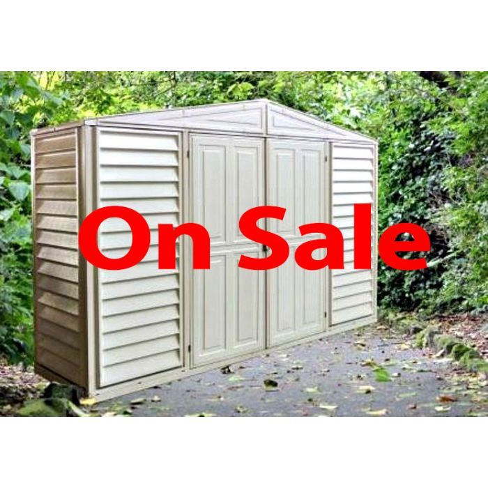 Duramax Woodbridge 10x3 Vinyl Shed With Foundation Floor Kit In 2020 Vinyl Sheds Shed Duramax Sheds