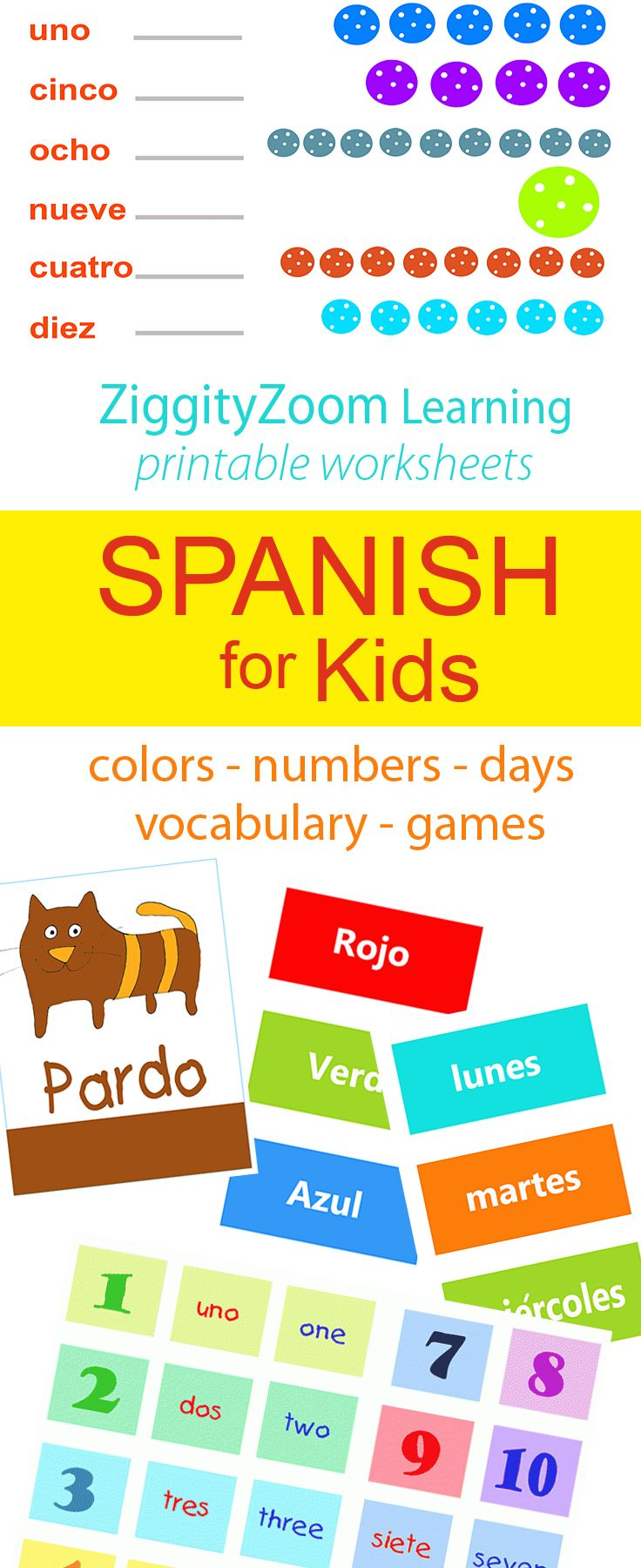 Free Printable Spanish worksheets for kids.  Lots of beginner printables for learning Spanish or English.  Educational printables on ZiggityZoom.