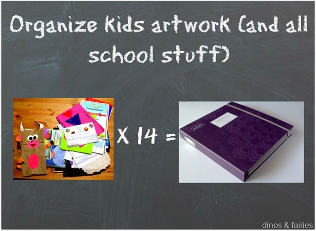 Organize kids artwork (and all those school papers and photos).  Create photo books for each year.  #organizing #kids artwork