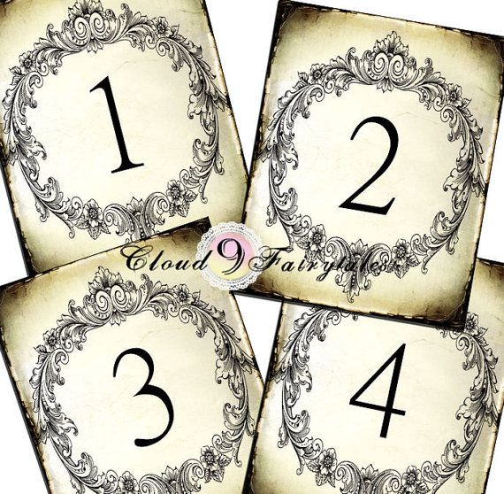 Vintage Table Numbers Wedding Seating Chart Cards Antique Ornate Frame Victorian Rustic