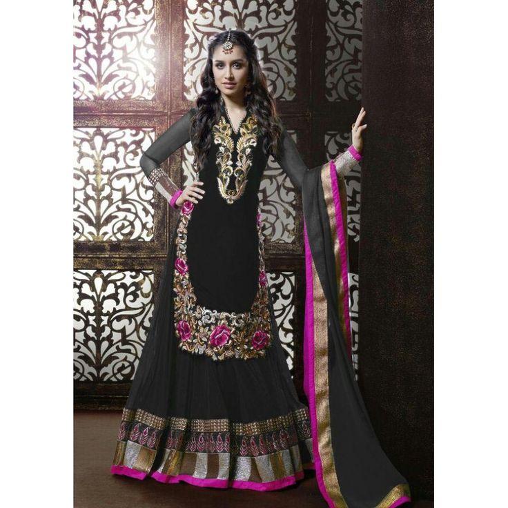 Shraddha Kapoor Khwaab Black Designer Anarkali Suit at just Rs.1099/- on www.vendorvilla.com. Cash on Delivery, Easy Returns, Lowest Price.