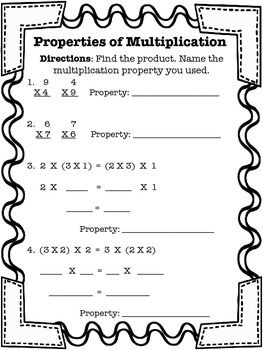 Properties of Multiplication worksheet. Practice of zero, identity, distributive, commutative, and associative properties.