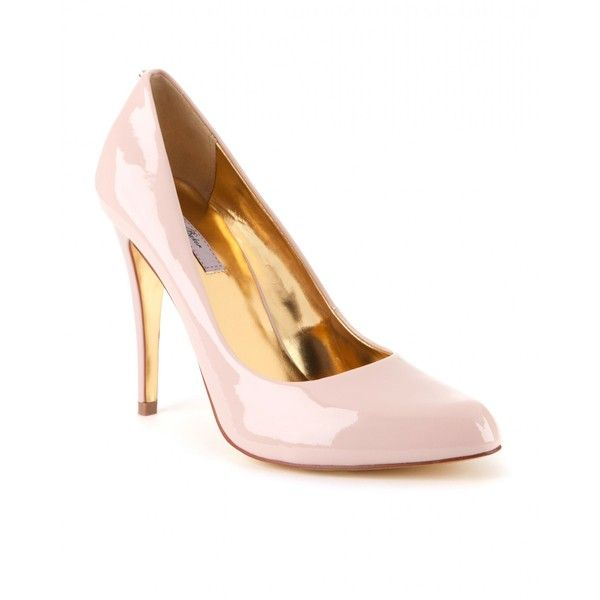 Ted Baker JAXINE - Patent leather court shoe (32.825 HUF) ❤ liked on Polyvore featuring shoes, pumps, natural, patent pumps, studded pumps, metallic gold shoes, studded high heel pumps and studs shoes