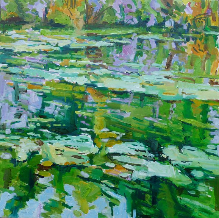 Green water and michealmas daisies  50 x 50cm