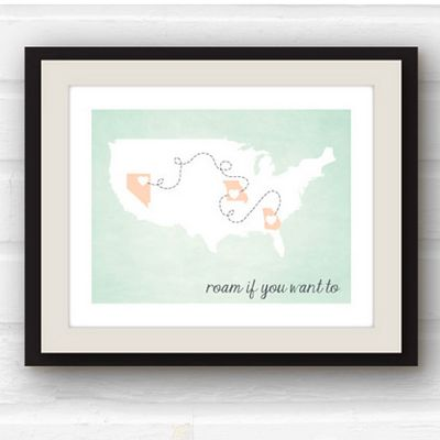 For the family that's lived in multiple places, pick up this personalized travel poster to showcase all the places that are near and dear to your hearts
