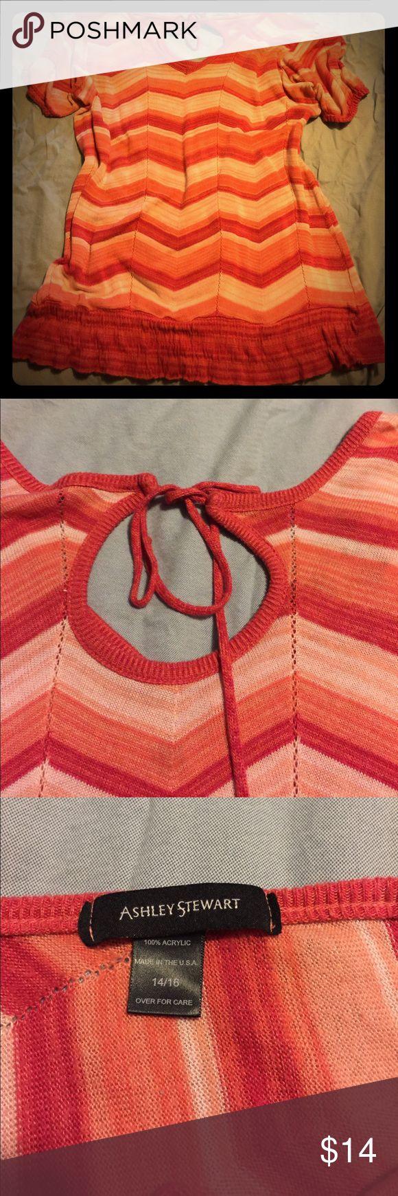 Ashley Stewart size 14/16 short sleeve sweater Adorable Ashley Stewart in beautiful colors. Minimal wear in good shape. Smoke free. Ashley Stewart Tops Sweatshirts & Hoodies