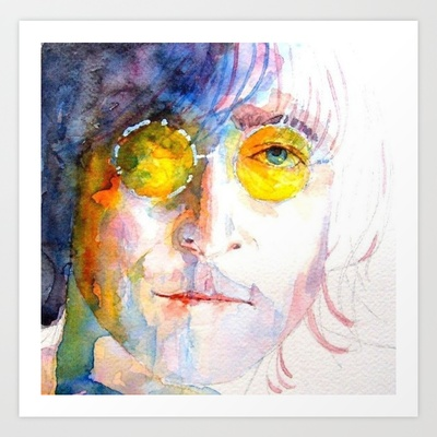 John Winston Lennon  Art Print by Paul Lovering Watercolors - $24.96