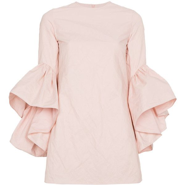 Marques'almeida Mini dress with ruffled sleeves ($925) ❤ liked on Polyvore featuring dresses, short pink dress, frill sleeve dress, flutter sleeve dress, flounce sleeve dress and metallic mini dress