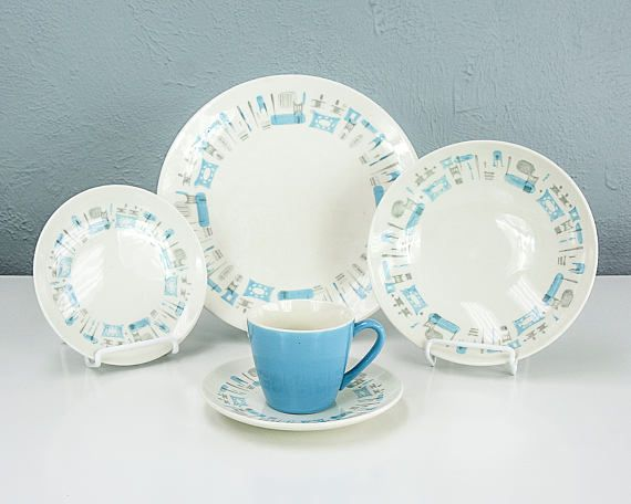 Vintage Blue Heaven by Royal China Dinnerware Set Includes