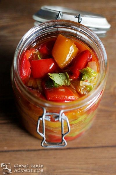 Moldovan Preserved Peppers: olive oil, garlic, onion, vinegar.