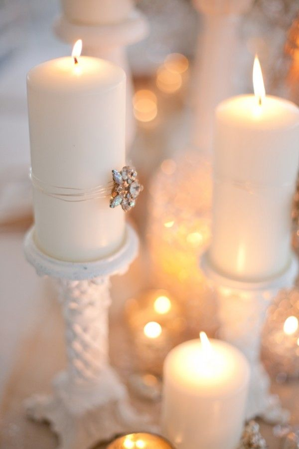 A Christmas pillar-candle and vintage milk glass