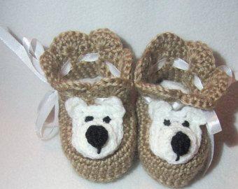 """Botitas de bebé de ganchillo """"Little Bear"""", zapatos de bebé ganchillo, zapatos de bebé ganchillo, zapatos Unisex, bebé recién nacido"""