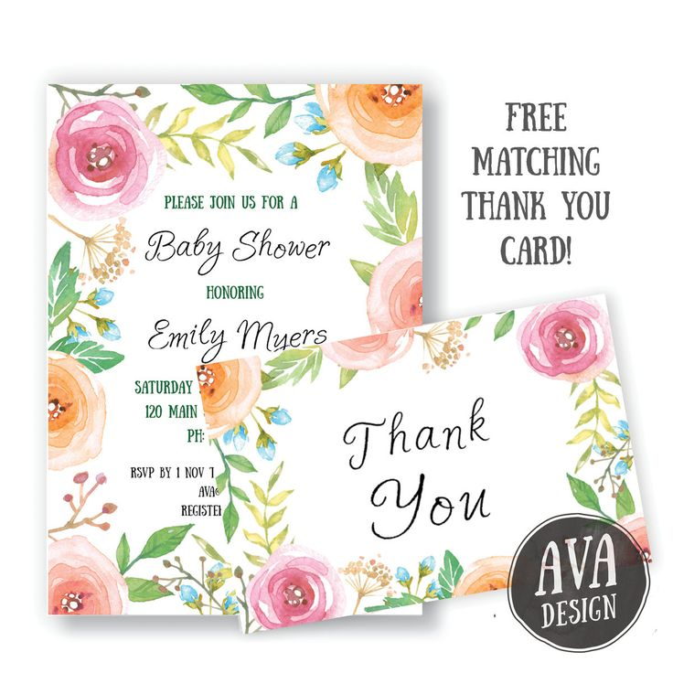 Pretty floral Baby Shower invitation with FREE matching thank you card :) Upon confirmation of payment, you will be able to instantly download your thank you card (one sided 4x6). Once I receive your party details, I will create your custom invite and email to you within 48 business hours.  Please contact me if you would like this design in another size or for a different occasion (e.g. birthday party, bridal shower, wedding) and I would be happy to create one for you!  This listing is for a…