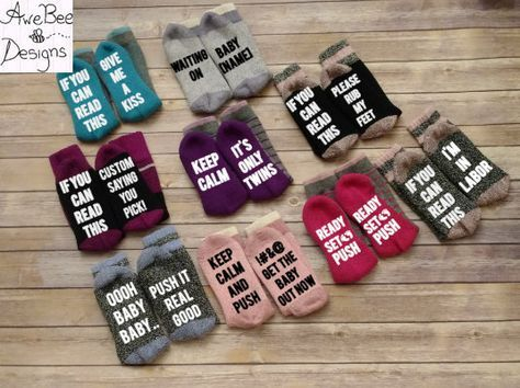 Wine Socks, Labor Socks, Delivery Socks, Pregnancy Socks, Hospital Socks, If You Can Read This .. Custom Saying, Baby Shower Gift, Push Gift by AweBeeDesigns on Etsy