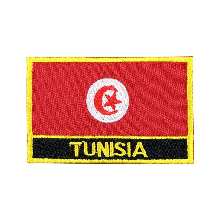Tunisia Flag Patch Embroidered Patch Gold Border Iron On patch Sew on Patch Bag Patch meet you on www.Fleckenworld.com