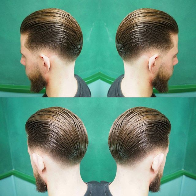 What perfect balance between the longer and shorter stands of hair. If every morning could only have such perfect results. S/O @ivanewyorkbarbershop #taper #lowtaper #haircut #slickback #skills #pomade #barbershop #barber #mrpomade