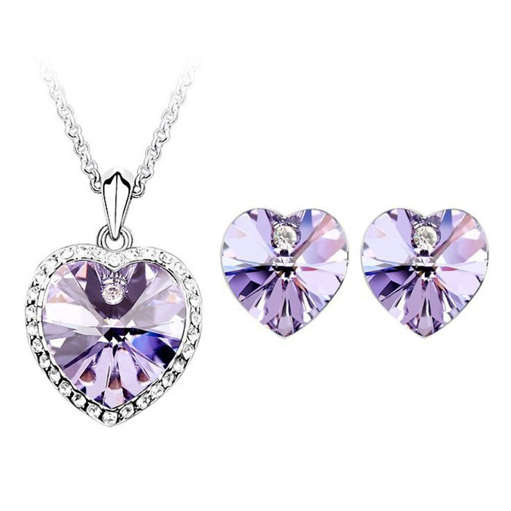 Beora Platinum Plated Purple Crystal Titanic Heart Necklace Set by Trendy Mela.