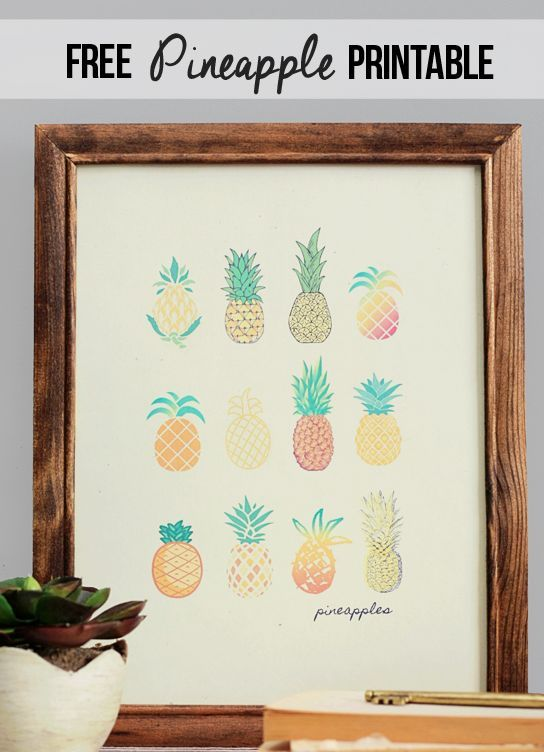 Get colorful decor with this for your office, dorm room or home with this Free Printable Pineapple Art from Live Laugh Rowe Pin It