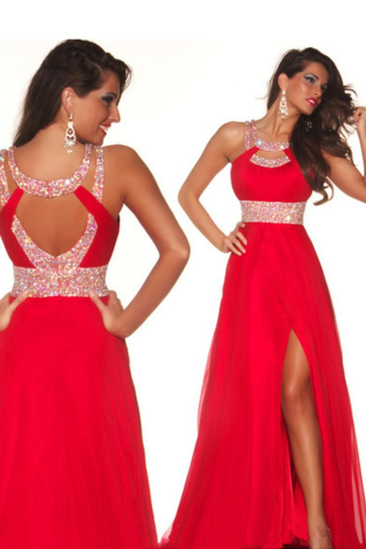 2014 Sexy Prom Dresses A Line Scoop Sweep/Brush Red  Open Back St007