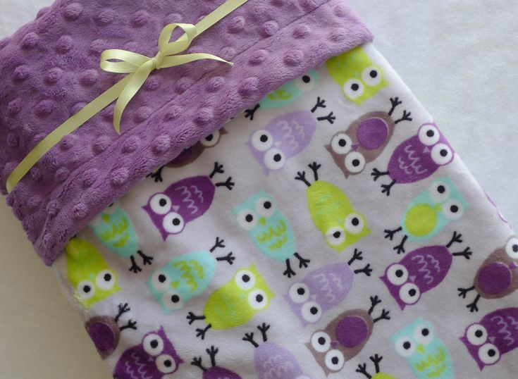 RESERVED for Bree- Night Owls Baby Blanket- Purple, Lavender, Aqua, Lime Green Night Owl Minky Baby Blanket With Dot Minky. $34.95, via Etsy.