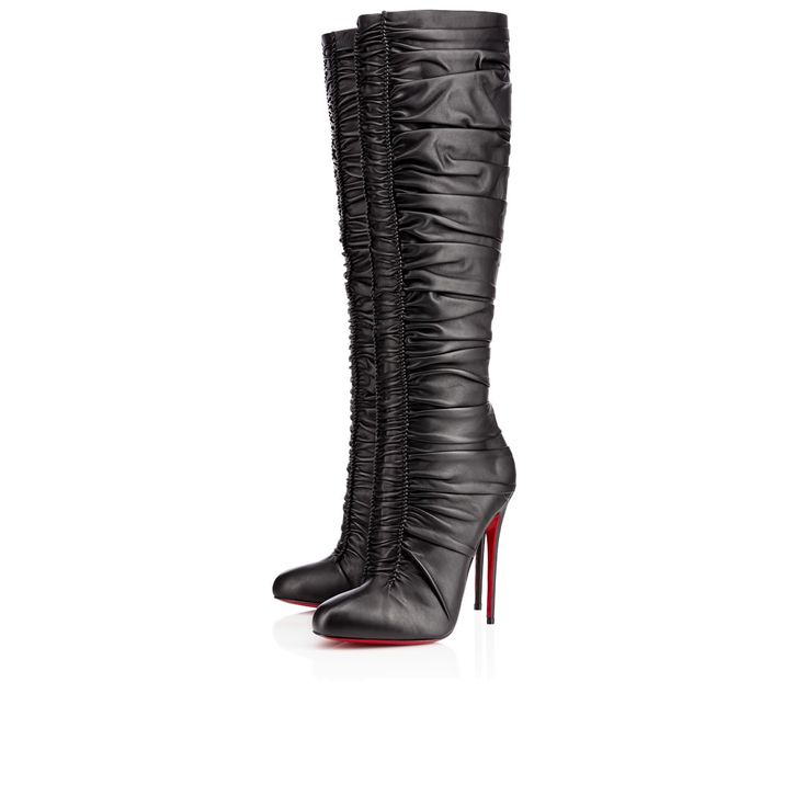 """Va va voom! """"Vivazdine's"""" knee-high upper is dressed in exquisitely draped leather that descends in delicate folds, anchored by a sexy seam in the front. This skillful technique creates a highly sophisticated and inimitable look. In sexy black, this 120mm splendor zips up from behind so as not to obstruct her perfect silhouette."""