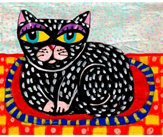 Whimsical Art Cat Folk Art Print Black Cat by AGirlAnOwlAndACat, $10.00