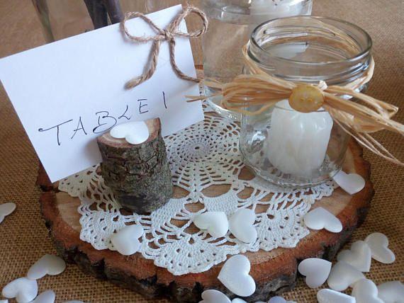 8-9 Fetta di legno decorazioni da tavola di nozze