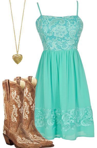 I like that. I call it a country girl outfit. That neon blue goes greatly with the light brown boots and gold heart necklace