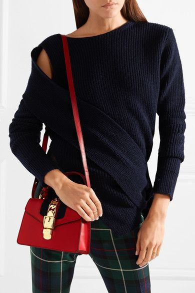 daa5da0d720607 Gucci | Sylvie mini chain-trimmed leather and canvas shoulder bag |  NET-A-PORTER.COM