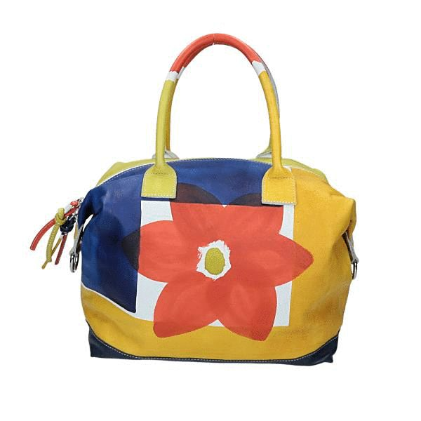 Astore Bag Acquerello Blu Fiore Flat tote/Bucket-style/Boxy shape 100% Genuine Leather Fully Handpainted 100% Made in Italy Size #handbags #madeinitaly #astore #tholia #fashionbags #italianbrands #bags #360view #madeinitalybags