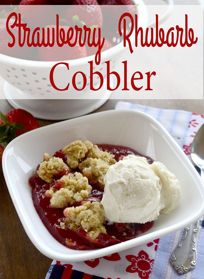 This strawberry rhubarb cobbler is easy and delicious!!