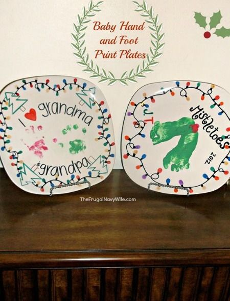 DIY Hand and Footprint Baby Plates | Best of The Frugal Navy Wife |  Christmas, Christmas crafts, Diy christmas gifts - DIY Hand And Footprint Baby Plates Best Of The Frugal Navy Wife