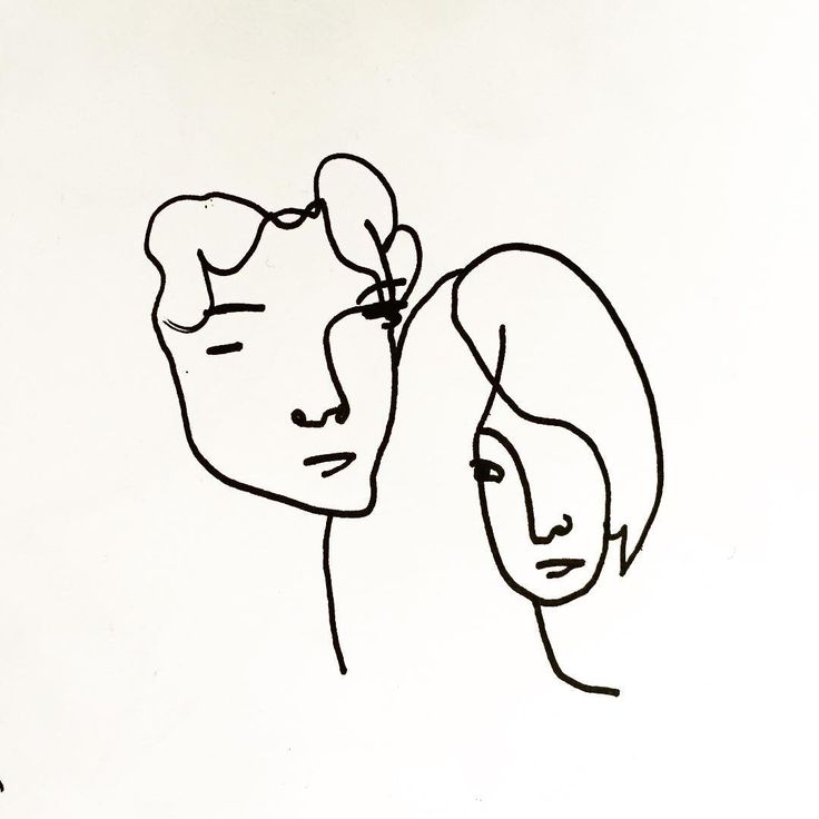Line Drawing of Patti Smith and Robert Mapplethorpe