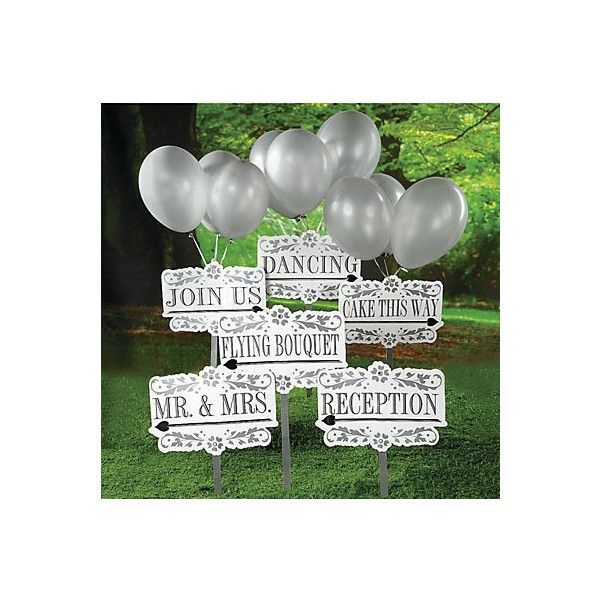 Wedding and Reception Yard Sign Stakes Kit 6 Signs (985 MXN) ❤ liked on Polyvore featuring home and home improvement
