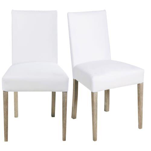 2 Chaises A Housser Blanches Et Pieds En Pin Massif Maisons Du Monde Chaise Bois Blanc Pin Massif Chaise