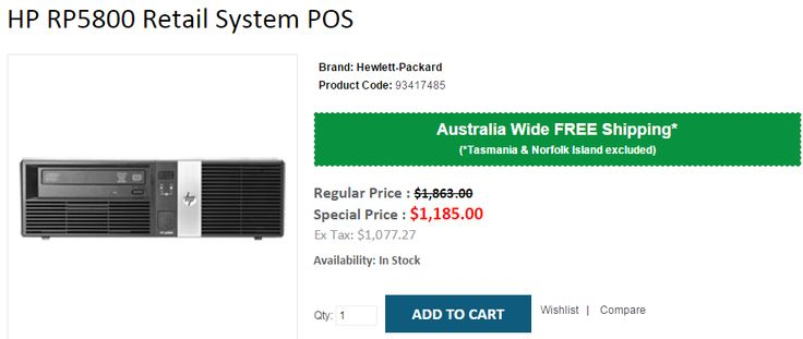 Buy NOW HP RP5800 Retail System POS at $1,185. OnlyPOS selling at 36% OFF on regular price with FREE Shipping in Australia..!  http://www.onlypos.com.au/hp-rp5800-retail-system-pos-hp-90466483
