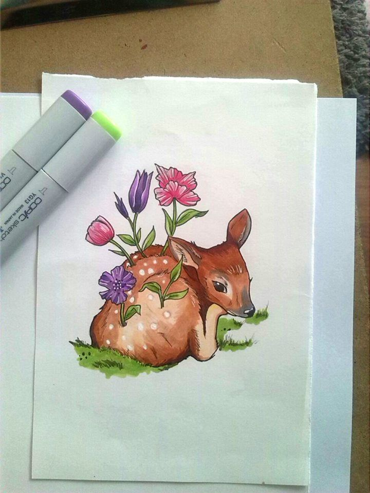 My version of a Doe made by another illustration.  #deer #doe #animal #flowers #tattoo #design #copic #nature #color