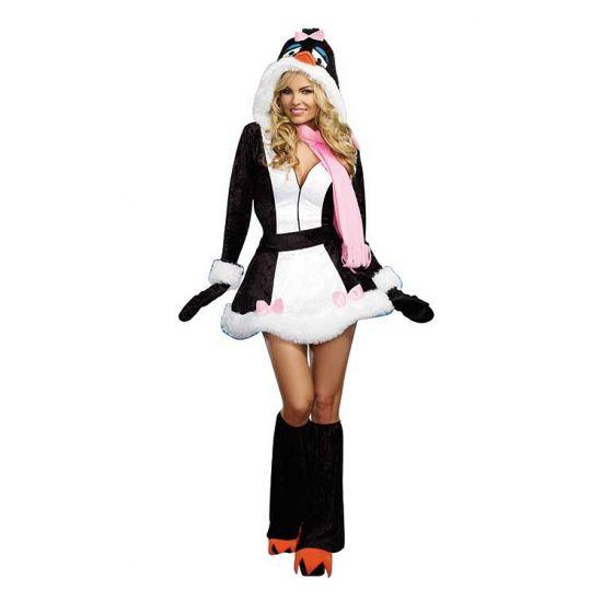 Sexy fluwelen pinguin pakje voor dames. Fluweel pinguin jurkje met een ritssluiting aan de voorkant. Het jurkje is voorzien van bont afwerking aan de mouwtjes en aan het rokje. Inclusief riem,  handschoenen en laarshoezen. Carnavalskleding 2015 #carnaval