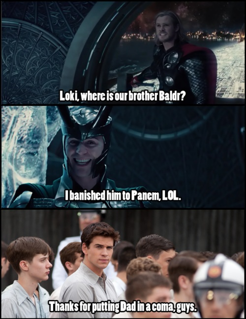 yesChris And Liam Hemsworth Funny, Chris Hemsworth, Thor And Loki, Norse Mythology, Hunger Games, Funny Stuff, Avengers Funny Comics, So Funny, Younger Brother