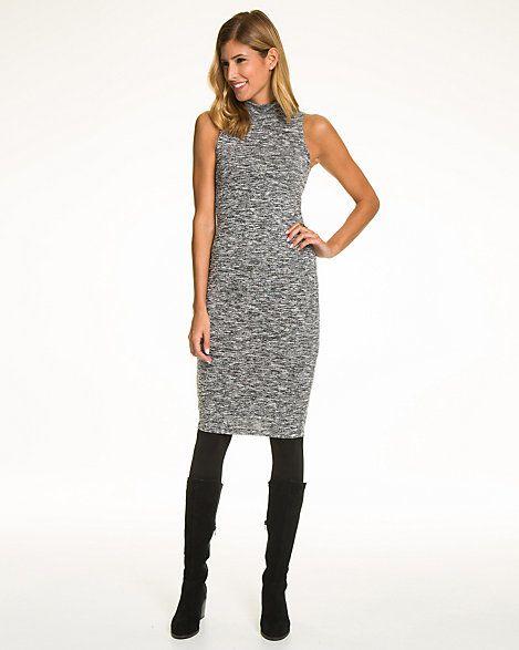 Jersey Mock Neck Midi Dress