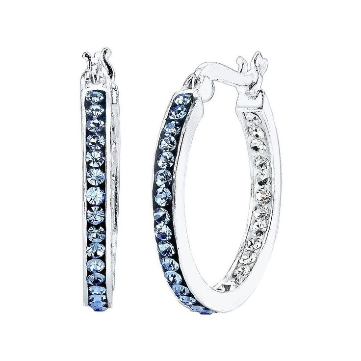 Silver-Plated Ombre Blue Crystal Hoop Earrings