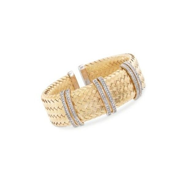 """Charles Garnier  """"Glamour"""" CZ Bar Cuff Bracelet in Two-Tone Silver. 7... ($695) ❤ liked on Polyvore featuring jewelry, bracelets, silver jewellery, cubic zirconia jewelry, silver bangles, cubic zirconia cuff bracelet and braid jewelry"""
