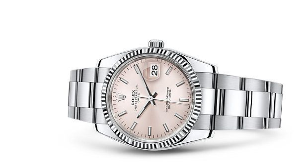 Rolex Date 34 Watch: White Rolesor - combination of 904L steel and 18 ct white gold - 115234