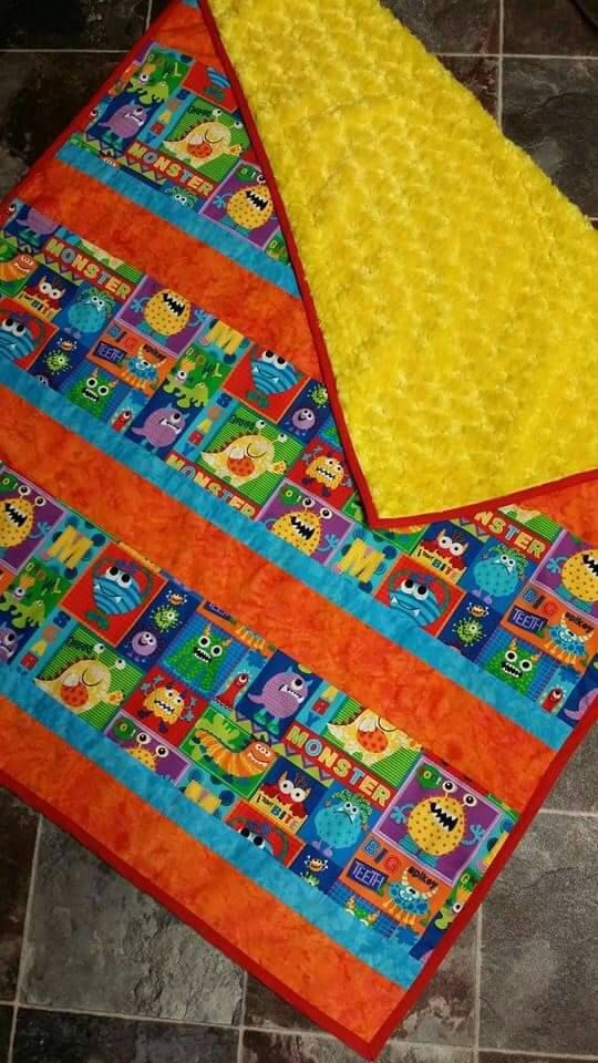 Baby Boy Monsters Blanket. Yellow chenille back. by SensationalEmb on Etsy