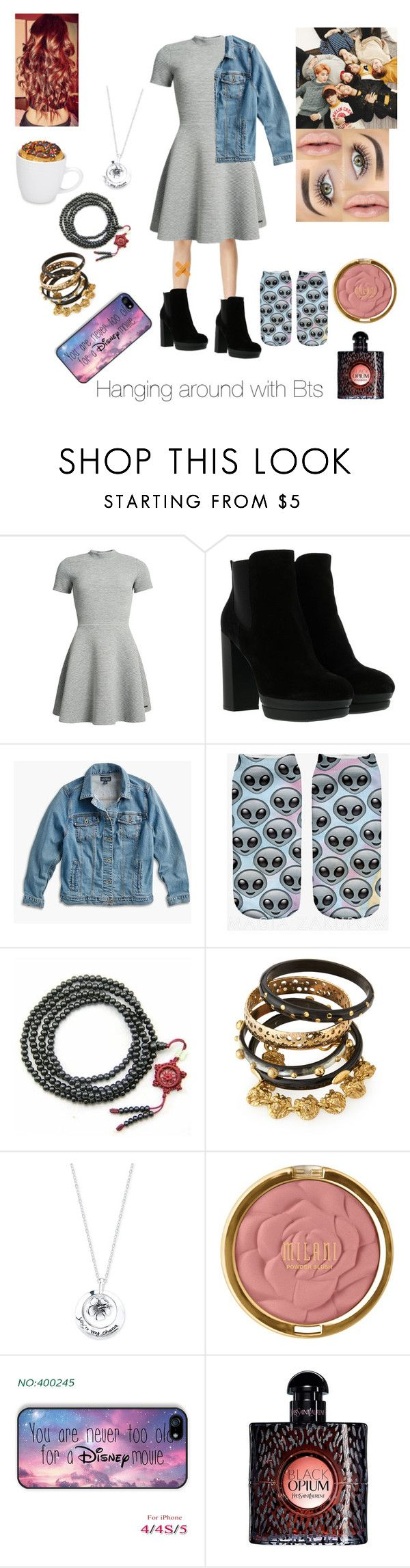 """Hanging around with BTS"" by liazpanda ❤ liked on Polyvore featuring Superdry, Hogan, Lucky Brand, Urban Decay, Ashley Pittman, Disney, Milani, Yves Saint Laurent and plus size clothing"