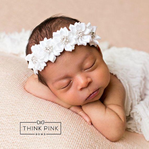 White baby headband newborn headband christening headband baptism headbandbaby girl flower headband rhinestone baby headbandheadbands