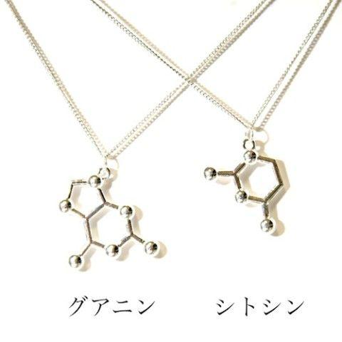 【科学雑貨 Scientia】構造式ペアネックレス: グアニン+シトシン
