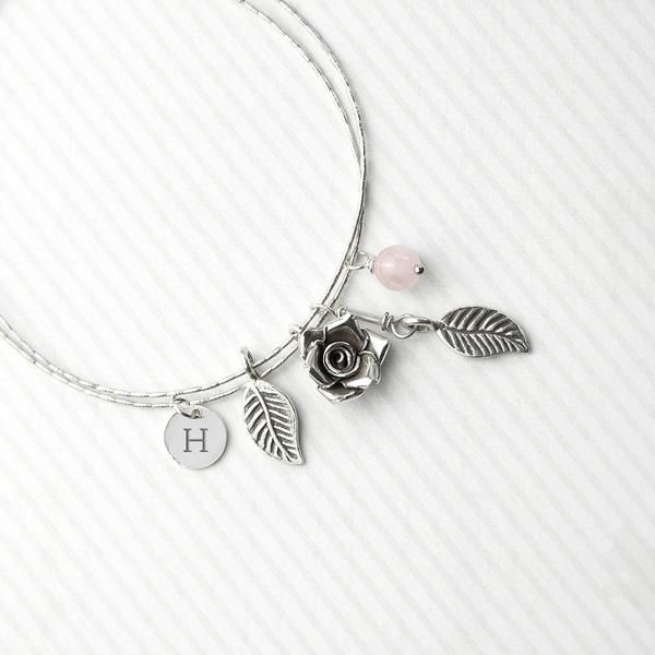 Sterling Silver Personalised English Rose Bracelet - Rose Quartz – Luxe Gift Store